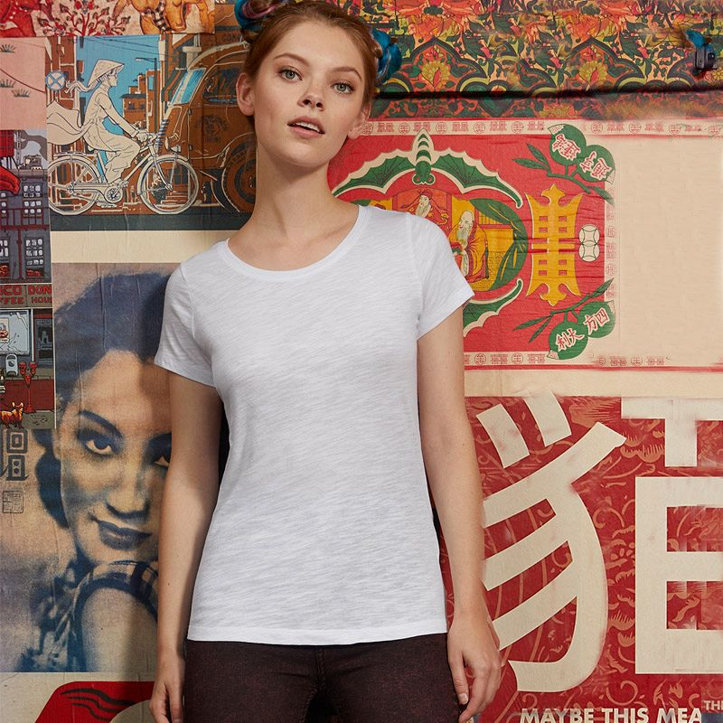 Camiseta Organica M/c Slub entallada Mujer