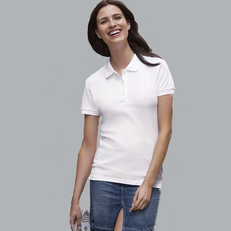 Polo Pique M/c Mujer White