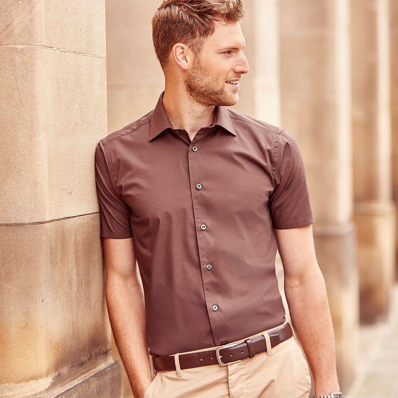 Camisa entallada manga corta Hombre