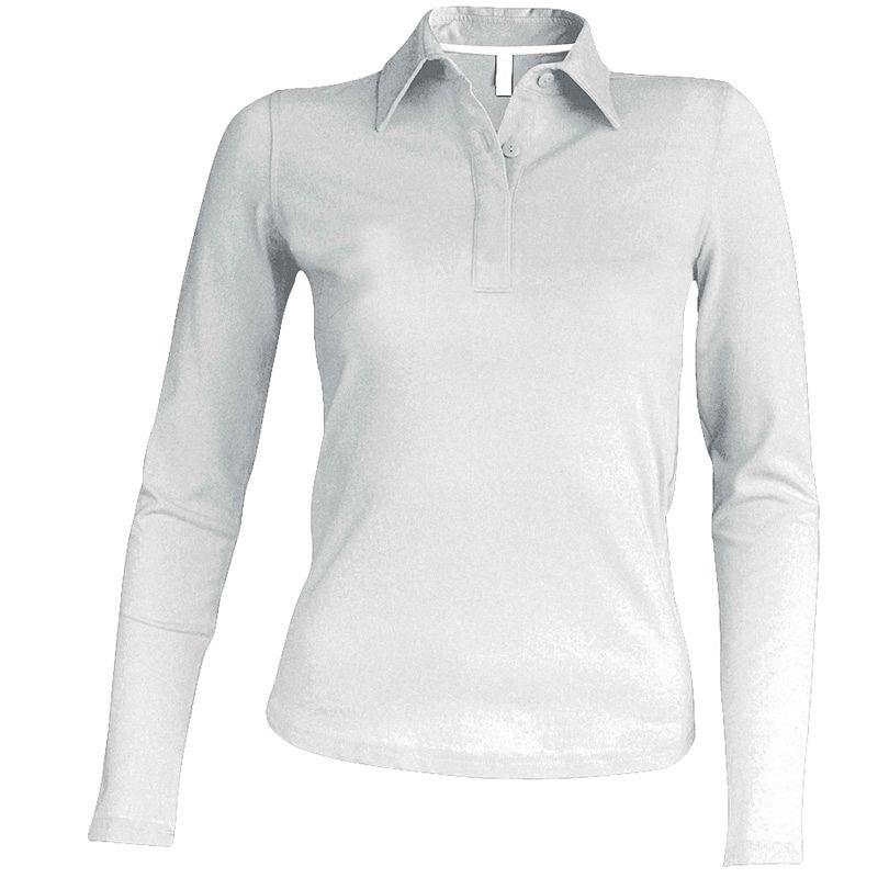 Polo Pique manga larga Mujer White