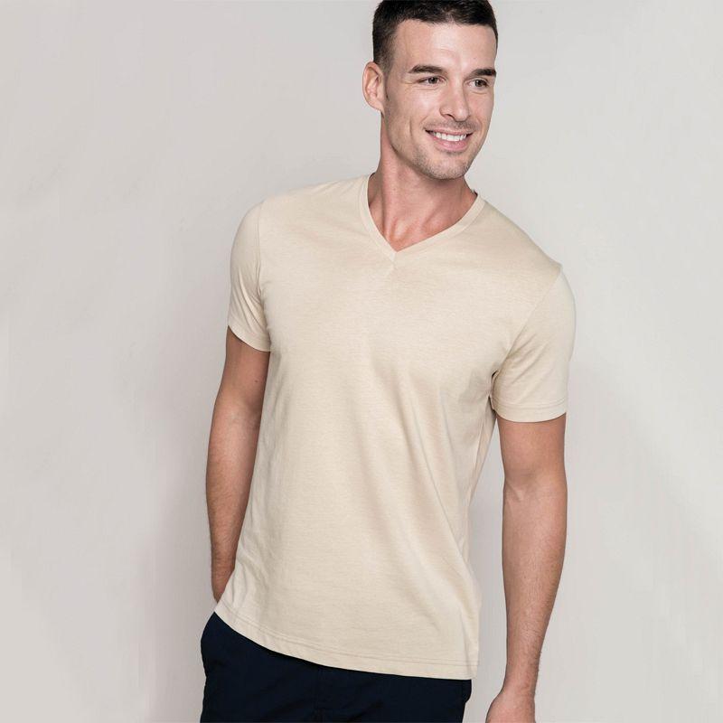Camiseta Hombre manga corta  Cuello Pico White