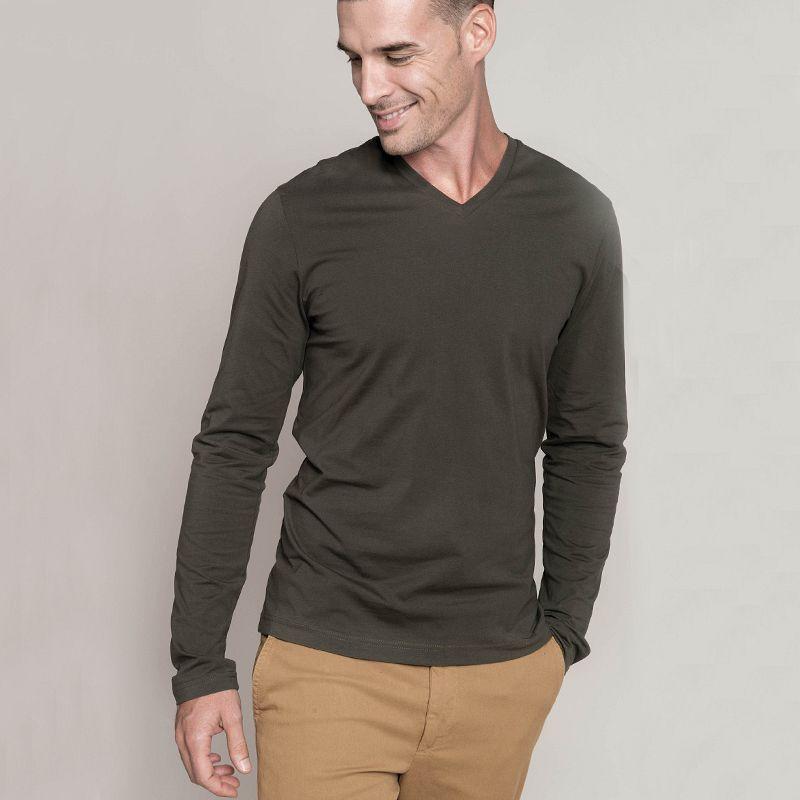 Camiseta Hombre manga larga Cuello Pico