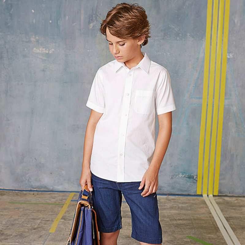 Camisa Popelina M/corta Niños White