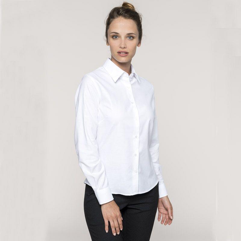 Camisa Oxford manga larga Mujer White