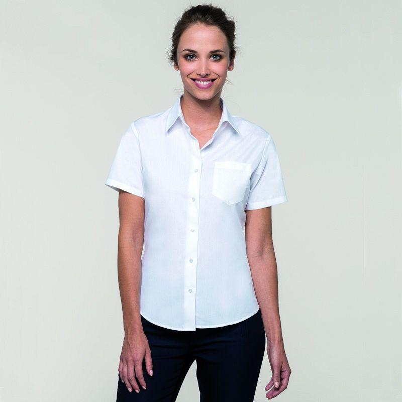 Camisa Popelina M/corta Mujer White