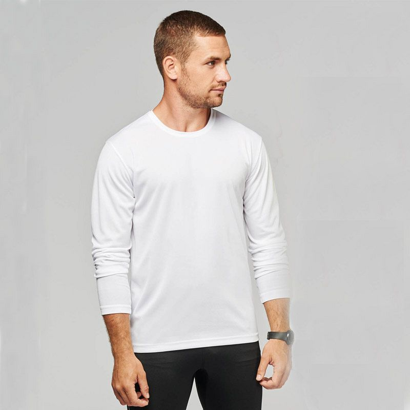 Camiseta M/larga Poliester Hombre White