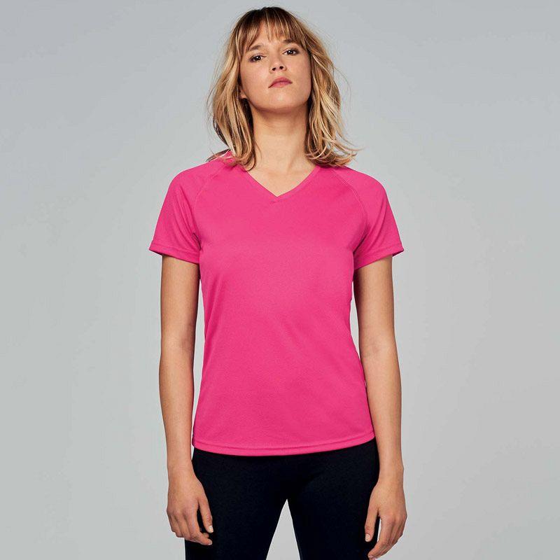 Camiseta Deporte Pico Mujer Fluor